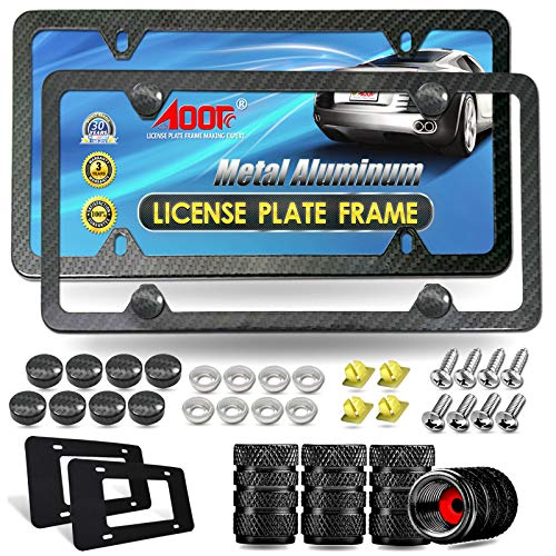 Aootf Carbon Fiber License Plate Frame- Heavy Duty Black Aluminum Car Tag Cover, Slim Front & Rear Holders Mount Hardware Kit- Stainless Steel Screws Bolts, Nut, Tire Valve Caps, Rattle Proof Pad