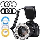 リングフラッシュ8マクロ LED リングフラッシュ バンドル 液晶 画面 電源制御付き アダプターリングとフラッシュ ディフューザーCanon Nikon カメラ 対応