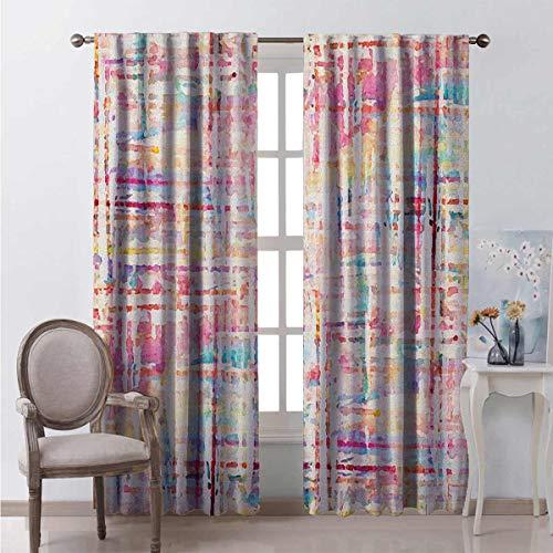 Acuarela 99% cortinas opacas, colores abstractos dispersos en maneras expresionistas, pintura moderna arte para dormitorio jardín de infancia sala de estar W54 x L95 pulgadas, multicolor