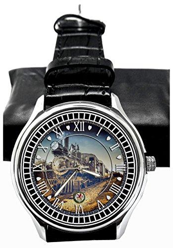 Vintage Dampfmaschine British Railway Art 40mm Schiene Regulator Zifferblatt Armbanduhr in massiv Messing