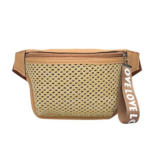 Fannyfuny bolsos para Mujer Bolso de Mano Elegante Cintura Fanny Pack Riñoneras Bolsa de Paja para Todos los Días de Fiesta Riñoneras Shoppers y