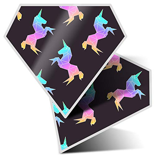 Awesome 2 x Diamond Stickers 7.5 cm - Pretty Pink Ombre Unicorn Fun Decals for Laptops,Tablets,Luggage,Scrap Booking,Fridges,Cool Gift #12927
