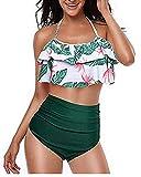 Kidsform Maillot de Bain 2 Pièces Femme Grande Taille Dos Nu Chic Tankinis Push Up Taille Haute Floral Slim Bikini Cache Ventre...