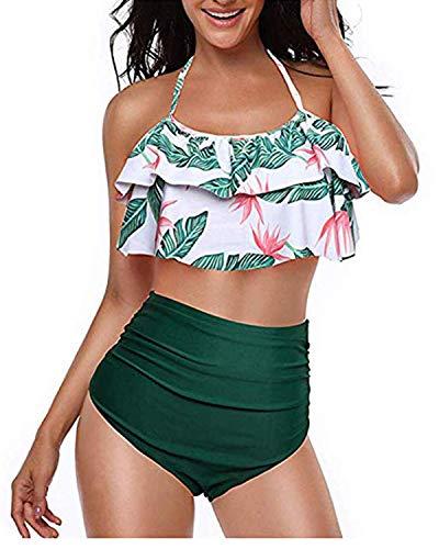 Kidsform Bikini Damen Set Push up Bademode Frauen High Waist Bikinis Bikini Damen Set High Waist Tankini Damen Bauchweg Grün EU 38/ M