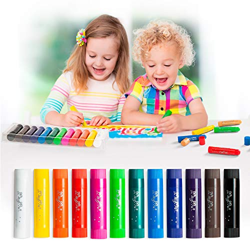 MayMoi Washable Tempera Paint Sticks | Non-Toxic, Quick Drying & No Mess Paint Sticks for Kids (12 Bright Colors)