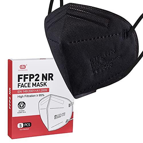 ctc connexions FFP2-Maske Schwarz, 5 Stück Filter-Einweg-Atemschutzmaske , CE 0598 Zertifizierung EN149:2001+A1:2009, 5-Schicht-Schutzmaske, Unabhängige Verpackung