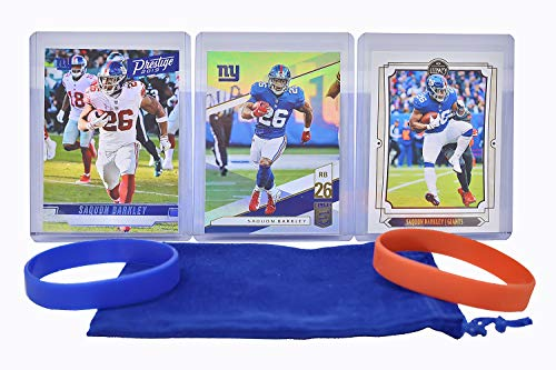 Saquon Barkley Football Cards (3) Assorted Bundle - New York Giants Trading Card Gift Set