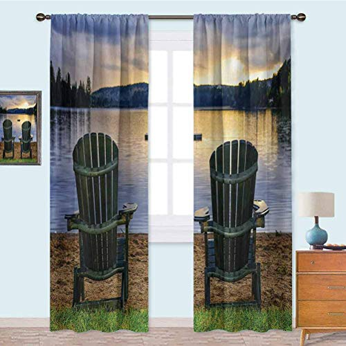 YUAZHOQI Blackout Curtains for Bedroom Two Wooden Chairs on Relaxing Lakeside at Sunset Algonquin Provincial Park Canada Noise Reducing Curtain 108 Inches Long Navy Green