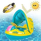 Ucradle Baby Schwimmring Aufblasbarer Schwimmsitz Trainer mit Sonnenschutz, Baby Schwimmhilfen Kinderboot für Babies im Alter 1 bis 3 Jahr, für Beach, Pool, Schwimmbad (Abnehmbares Sonnendach)