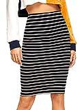 SheIn Women's Striped Knee Length Elastic Waist Bodycon Pencil Skirt Black XL