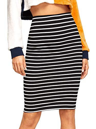 SheIn Women's Striped Knee Length Elastic Waist Bodycon Pencil Skirt Black L
