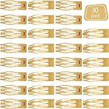 30 Pieces Double Grip Hair Clips Metal Snap Hair Barrettes for Women Girls Hair Making (Gold)