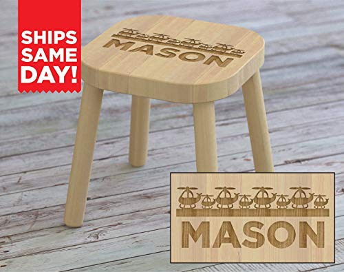 Kids Step Stool, Helicopter, Airplanes, Custom Kids Name Stool, Personalized Kids Stool, Childrens Stool, Childrens Bench, Wooden Step Stool, Gift For Kids, Christmas Gift Ideas for Kids ST04