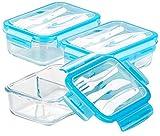 Rosenstein & Söhne Butterbrotdosen: 3er-Set Glas-Frischhaltedosen, 2 Kammern, Besteck, Klick-Deckel, 840ml (Lunchdosen)