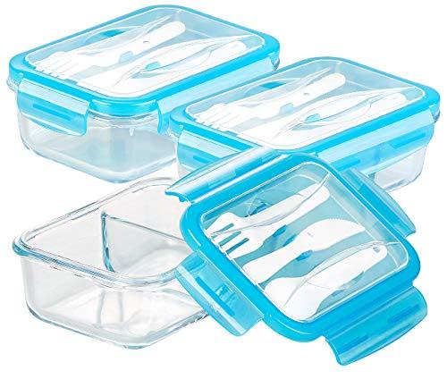 Rosenstein & Söhne Dose: 3er-Set Glas-Frischhaltedosen, 2 Kammern, Besteck, Klick-Deckel, 840ml (Lunchbox Glas)
