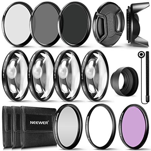 Neewer® 52mm Komplettes Objektivfilter-Zubehör-Set für Objektive mit 52mm Filtergröße: UV CPL FLD Filterset + Makro Nahaufnahmen Set (+1 +2 +4 +10) + ND Filterset (ND2 ND4 ND8) + weiteres Zubehör