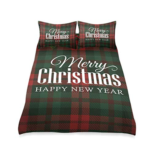 HappyCAT Merry Christmas Kids Bedding Set Red Green Buffalo Check Plaid 3 Piece Comforter Bed Set Soft Bedding Duvet Cover Set with 2 Pillow Shams for Boys Girls 66x90in 2020787