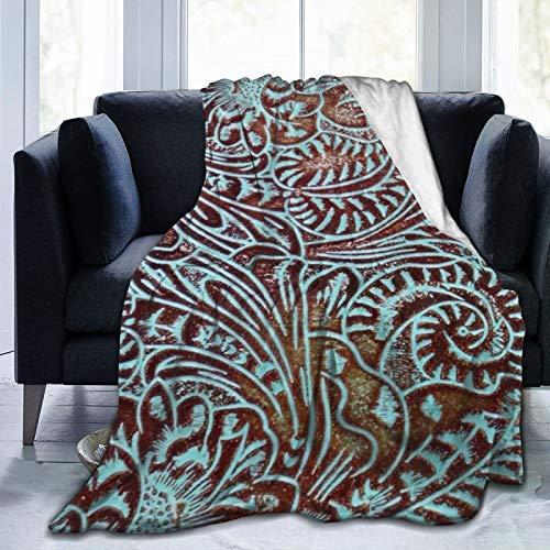 Mantas cómodas, ultrasuaves y esponjosas, para sofá y sala de estar, otoño, invierno y primavera, color marrón aguamarina con patrón de piel labrada de 152 x 127 cm