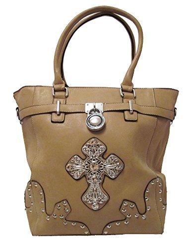 Assmannschnäppchen Handtasche mit Strass Kreuz Schultertasche Damen Tasche mit Strasssteine Nieten (Braun)