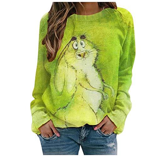 YANFANG Sudadera sin Capucha suéter Jersey Moda Mujer Suelta Cuello Redondo Animal Encantador Gato Impreso Blusa Tops pulóver a la Moda Sweatshirt Invierno Verde Rojo