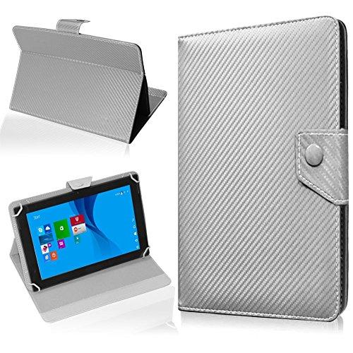 NAUC Tasche Hülle für ODYS Ieos Quad 10 Pro Schutzhülle Tablet Cover Hülle Bag Etui, Modellauswahl:Silber Carbon-Erscheinungsbild Magnetverschluss