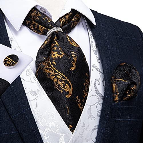 WODMB Hombres Vintage Oro Negro Corbata Black con anillo Cravat Fiesta de boda Cuello de seda Conjunto de pañuelos (Color : Silver Ring, Size : One size)