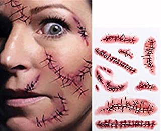 Tinuos Horror Realistic Fake Bloody Wound Stitch Scar Scab Waterproof Temporary Tattoo Sticker Halloween Masquerade Prank Makeup Props-5PC