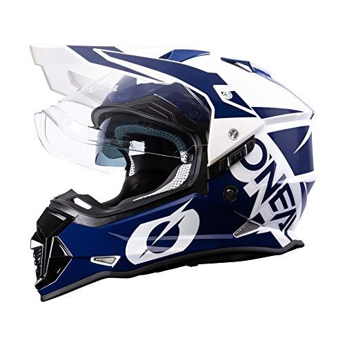 O'NEAL   Casco de Moto   Moto Enduro   Aberturas de ventilación para un máximo Flujo de Aire y refrigeración, Carcasa ABS, Visera Solar integrada   Casco Sierra R   Adultos   Azul Blanco   Talla M