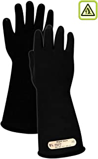 Magid Glove & Safety M0014B85 A.R.C. Natural Rubber Latex Electrical Insulating Gloves with Straight Cuff, Class 00, Size 8.5, 14