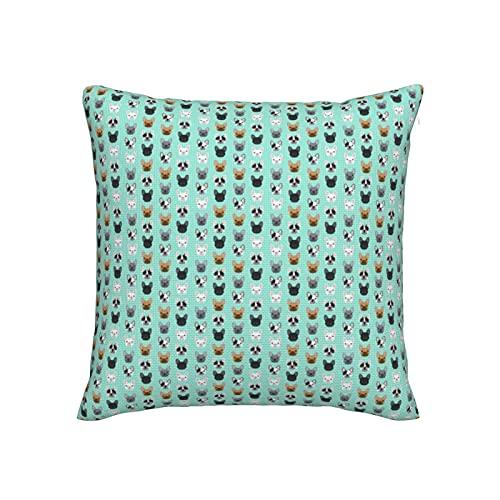 Fundas de almohada decorativas de 45,7 x 45,7 cm, fundas de almohada de imitación de lino de alta calidad para sofá, cama, silla de coche, diseño de bulldogs franceses lindo bulldog francés