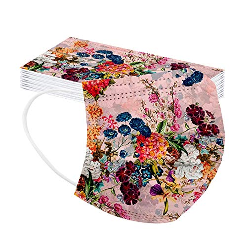 Flower Printed Disposable Face_Masks for Women, 3-Layers_Mask