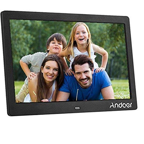 Andoer 10 inch Digital Picture Frame LED Wide Screen Electronic Album High Resolution 1024x600 MP3 MP4 Picture Player Alarm Clock Calendar with Remote Control Gift Present Materials Presentation Storage