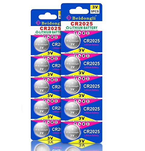 Beidongli CR2025 Battery 3V Lithium Battery Coin Button Cell 10 Pack 【5-Year Warranty】