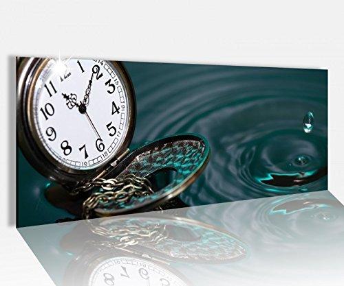 Acrylglasbild 100x40cm vintage Taschenuhr Wasser Tropfen Acrylbild Glasbild Acrylglas Acrylglasbilder 14A1634, Acrylglas Größe1:100cmx40cm