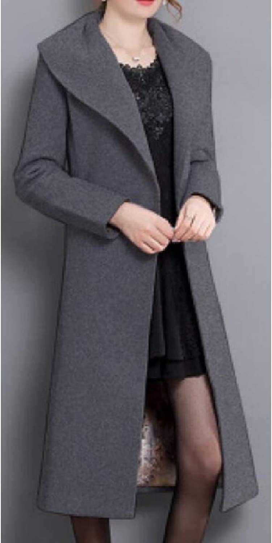 Xswsy XGCA Womens LongSleeves Elegant Belted Solid color Slim Pea Coat Peacoat