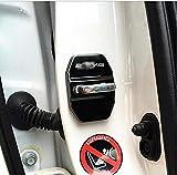 Juego de 4 fundas protectoras de acero inoxidable para cerraduras de puertas de coche, para Mercedes Benz (negro)