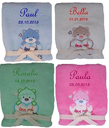 Baby deken met geborduurde naam Teddy met hart, diverse kleuren beschikbaar Christening pasgeboren roze