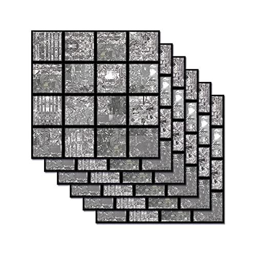Pegatinas De Azulejos De Mosaico Gris Decoración del Hogar DIY Pegatinas De Suelo Impermeables Pegatinas De Pared De Baño De Dormitorio 20 * 20 Cm (6 Piezas)
