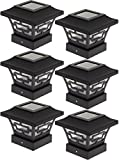 Westinghouse Hilltop 20 Lumens Solar Fence Post Cap Lights for 4x4 Wood Posts (Black, 6 Pack)