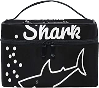 Cosmetic Makeup Bags with Funny Mama Shark Mom Print - Toiletry Case for Women Girls