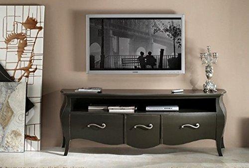 Porte TV Meuble séjour salon en bois 3 tiroirs et compartiment à jour bombée