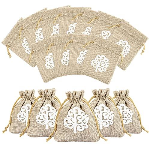 LEMESO 50 pz Sacchetti Bomboniere Portaconfetti Borse di Luta Albero della Vita per Matrimonio Nozze Comunione Battesimo Capodanno Compleanno Segnaposto Decorazioni Feste Natale