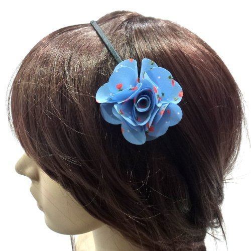 rougecaramel–Invernadero cabeza/Headband/diadema flor diseño Liberty–azul