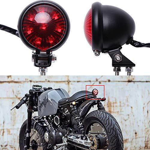 Rosso 12V LED Nero Stop Fanale Posteriore Motocicletta Freno Posteriore per Street Bike Chopper Bobber Cafe Racer Cruiser CB1300 883 iron.