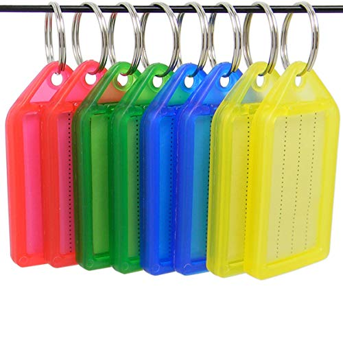 Shells 8PCS Red Green Blue Yellow Color Key ID Label Tags Key Ring Holder Tags Key Chain with Write-on Label Window