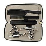 JIESENYU Tijeras de peluquería de 15,24 cm, oro rosa, tijeras de pelo de letras negras de tornillo de peluquería profesional juego de tijeras de peluquería