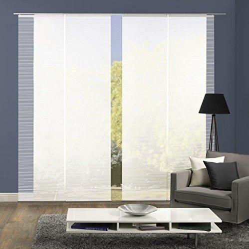 Vision S 94401   4er-Set Schiebegardine ROM   halb-transparenter Stoff in Bambus-Optik   4X 260x60 cm   Farbe: (weiß)