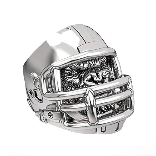 WLXW Edelstahl Wikinger Ring, Nordic Football Helm Ring Gorilla Helm Persönlichkeit Dominierenden American Football Herrenring,Silber,13