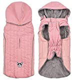Morezi dog coat with harness hole, dog snowsuit with removable hoodie, winter reflective dog vest warm dog costume pleat cotton - Pink - XL