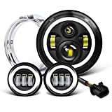 7 inch LED Headlight Fog Passing Lights DOT Kit Set Ring Motorcycle Headlamp Ring for Harley...